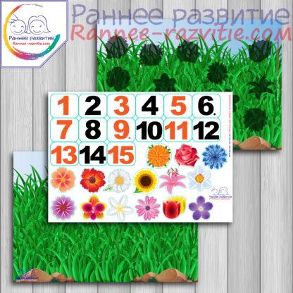 Математическая игра на липучках «Считаем цветы», теневое лото