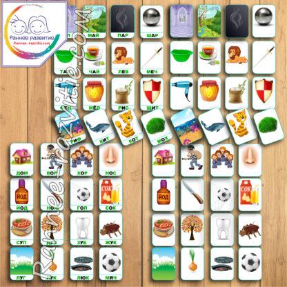 Дидактическая игра Круги «Крути – Читай». Складовые карточки, чтение по Зайцеву.