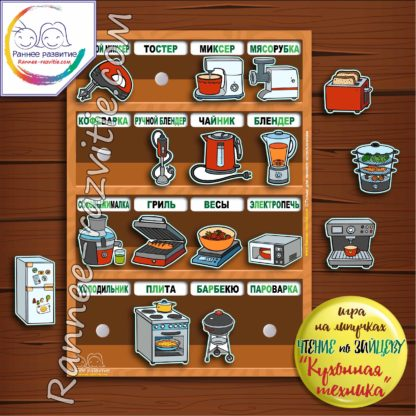 Игра на липучках «Кухонная техника». Чтение по складам, методика Н. Зайцева