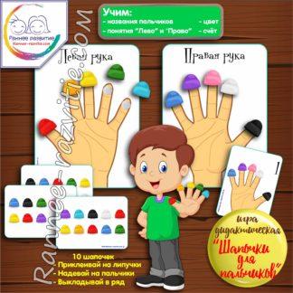 Дидактическая игра на липучках «Шапочки для пальчиков»